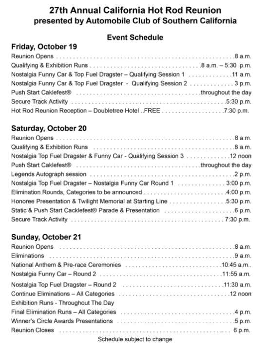 California Hot Rod Reunion Oct 19th 21st 2018 Events Schedule