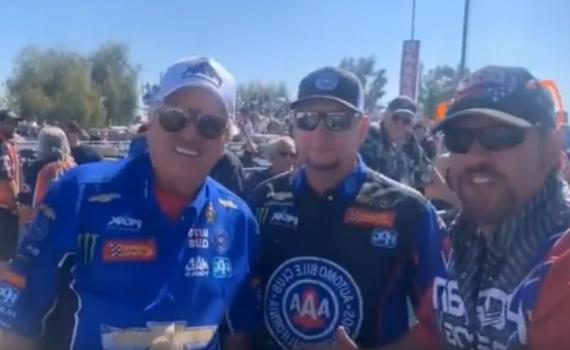 John Force, Robert Hight, and Charles Dohs of Dan Horan Racing