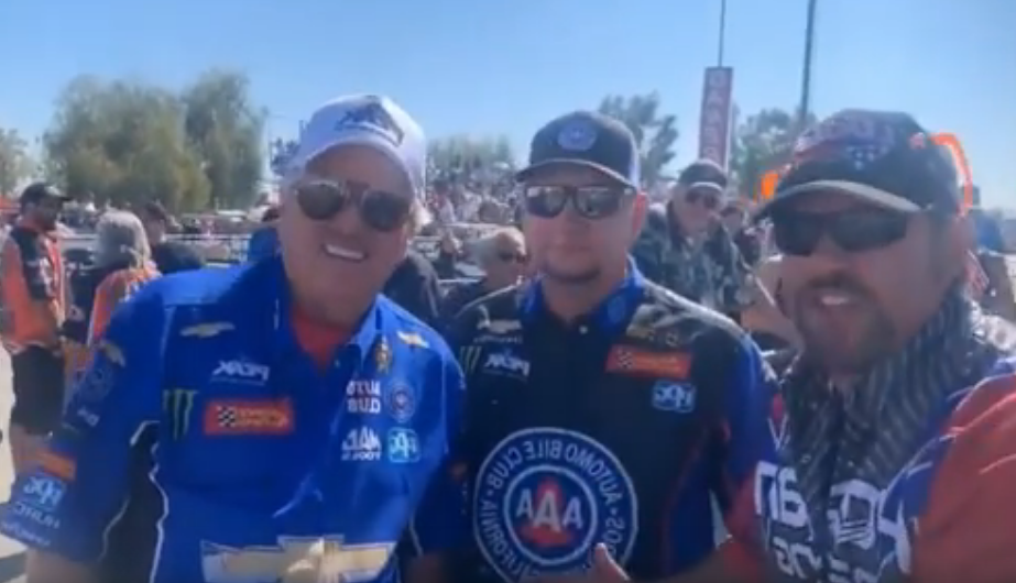 John Force, Robert Hight, and Charles Dohs of Dan Horan Racing